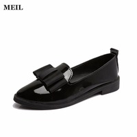 Brief Style Loafers Women Fashion Patent Leather Flat Shoes Spring Summer Handmade Soft Bow Flats High