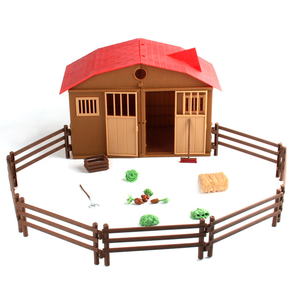 Simulation Play Model Farm House Model Figures Children Play House Toys Poultry Animal Model Scene Models Farmer Actor Player
