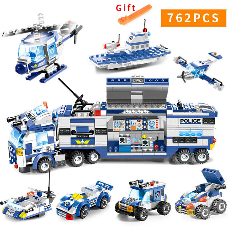 City Police Series 8 in 1/6 In 1  Vehicle Car Helicopter Police Staction Building Blocks DIY Bricks Compatible with Small Blocks