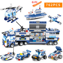 City Police Series 8 in 1/6 In 1 Vehicle Car Helicopter Police Staction Building Blocks DIY Bricks Compatible with Small Blocks(China)