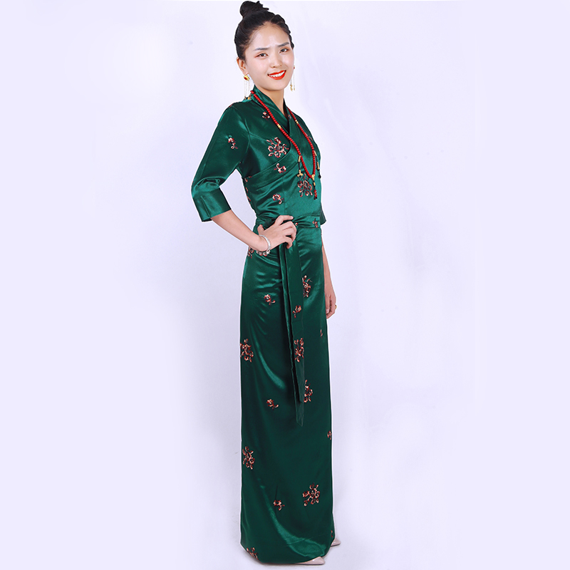 Nepal Myanmar Holiday Women Original Ethnic Tibet Summer Costume Dress Women Tibetan Gown Three-dimensional Carved Long Robe