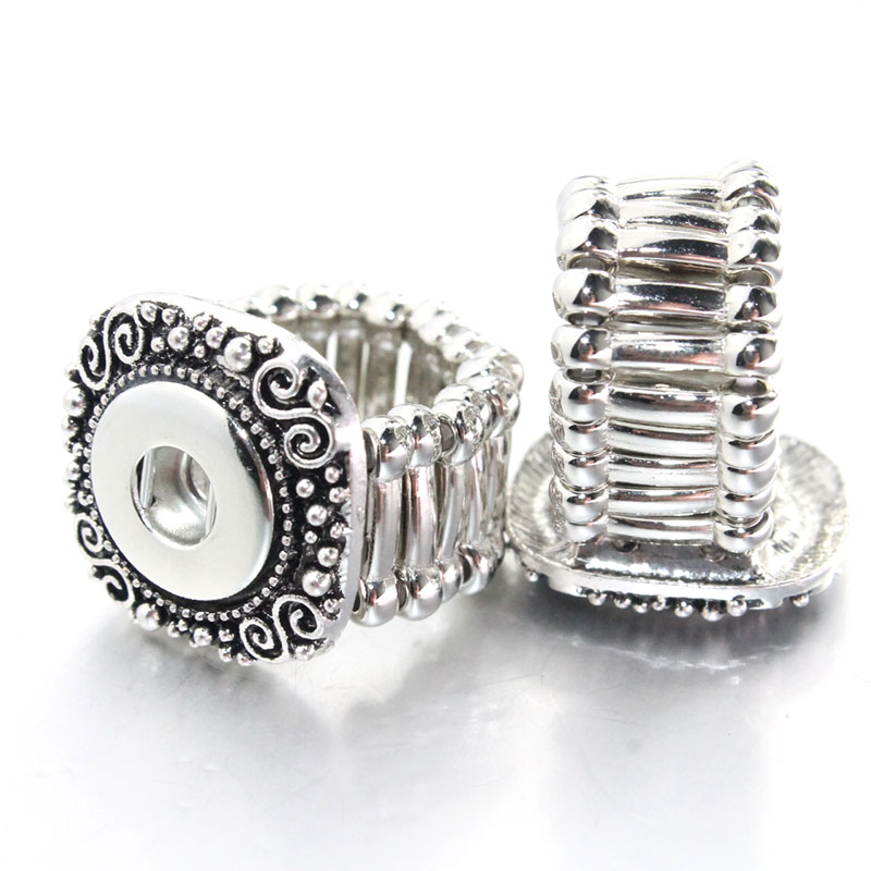 2016 Vintage Square DIY elastic snaps ring fit 12mm metal snap buttons women's fashion jewelry Men's ring watches women 1086