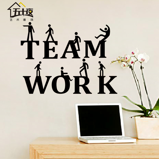 Office Wall Sticker Team Work Quote Motivation Inspired Lettering Words Art Wall  Sticker Office Meeting Room