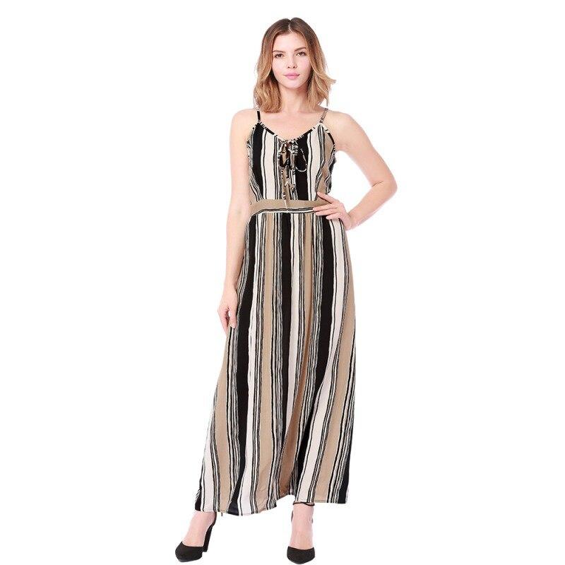 New Arrival Women's Summer Long Dress V-neck Print Sleeveless Dress Casual Sexy Slim Beach Holiday Travel Maxi Dresses Vestidos