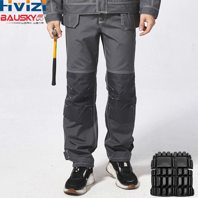 Vestuário de Trabalho dos homens Carga Calças De Trabalho Multi-funcional Ferramenta Bolsos das calças Cinza Calças de Trabalho Com EVA Joelheiras B129