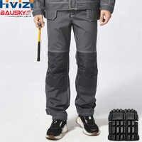 Pantalones de trabajo para hombre, pantalones de trabajo de carga, bolsillos multifuncionales, pantalones de trabajo gris con rodilleras EVA B129