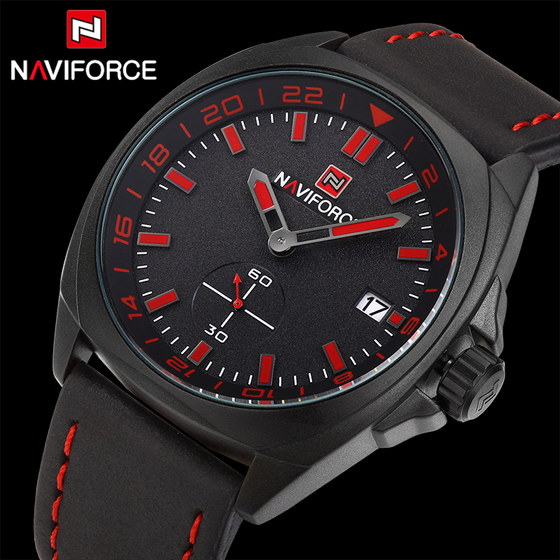 NAVIFORCE Luxury Brand Fashion Sports Watches Men Casual Quartz Clock Military Waterproof Leather Wristwatch Relogio Masculino 2018 new fashion casual naviforce brand waterproof quartz watch men military leather sports watches man clock relogio masculino