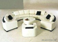 Luxury Extra Large Leather Sofa Round Shaped Sofa Hotle Villa Sofa Set S8583