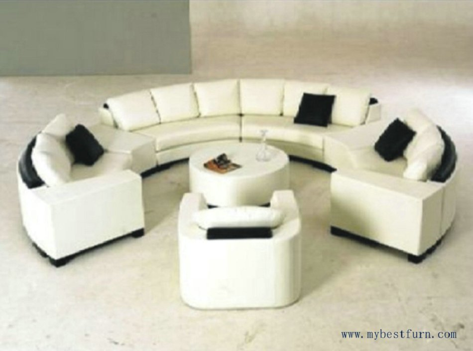 Luxury Sofa Extra Large Settee Nice Real Leather Sofas Round Shaped Settee for Hotle, Villa Furniture Home Sofa Set S8583 circular arc sofa half round furniture healthy pe rattan garden furniture sofa set luxury garden outdoor furniture sofas hfa086