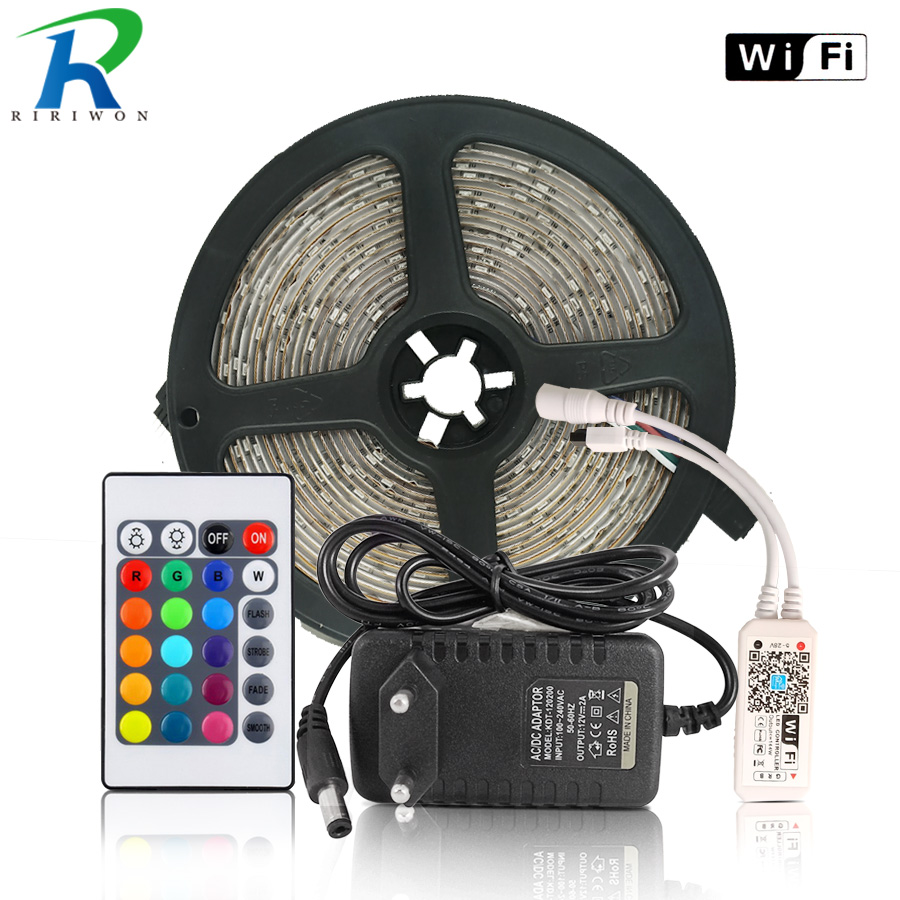 2835 Led Strip 5M 10M 24Key Wifi Led tape Non waterproof 15M 20M RGB Led Ribbon Remote WIFI Controller DC 12V Power Adapter kit 15m led strip set rgb waterproof smd 5050 led strip tape light 450leds wifi 24key controller 12v 6a power adapter diy color