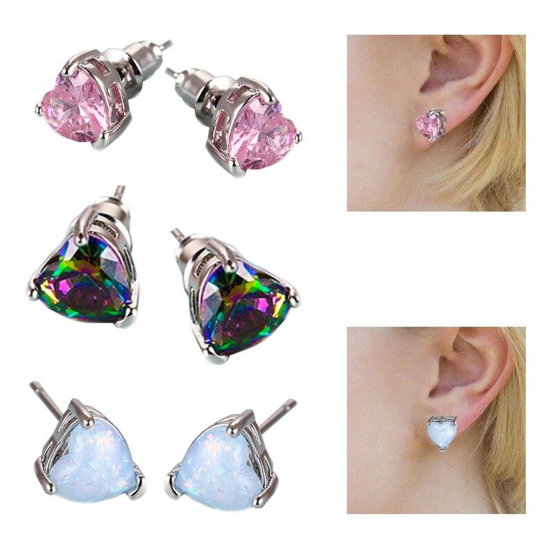 Women Sale Stud Gifts Engagement Earrings Opal earring Wedding Retro Elegant Jewelery Crystal Heart earrings