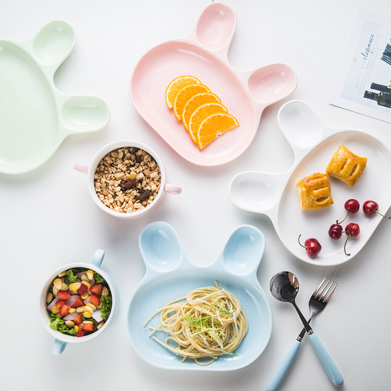 Dinnerware Sets Cute Candy color Ceramic tableware set lovely rabbit plate bowl fork  set tableware YY07 serveware