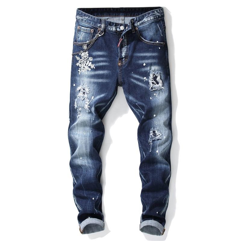 European American Style Luxury Quality Men's Slim Jeans Pants Famous Brand Mens Pencil Pants Straight Blue Hole Jeans For Men