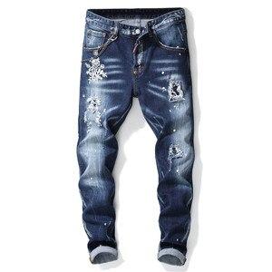 Image 1 - European American Style luxury quality Mens slim jeans pants famous brand mens Pencil Pants Straight blue hole jeans for men