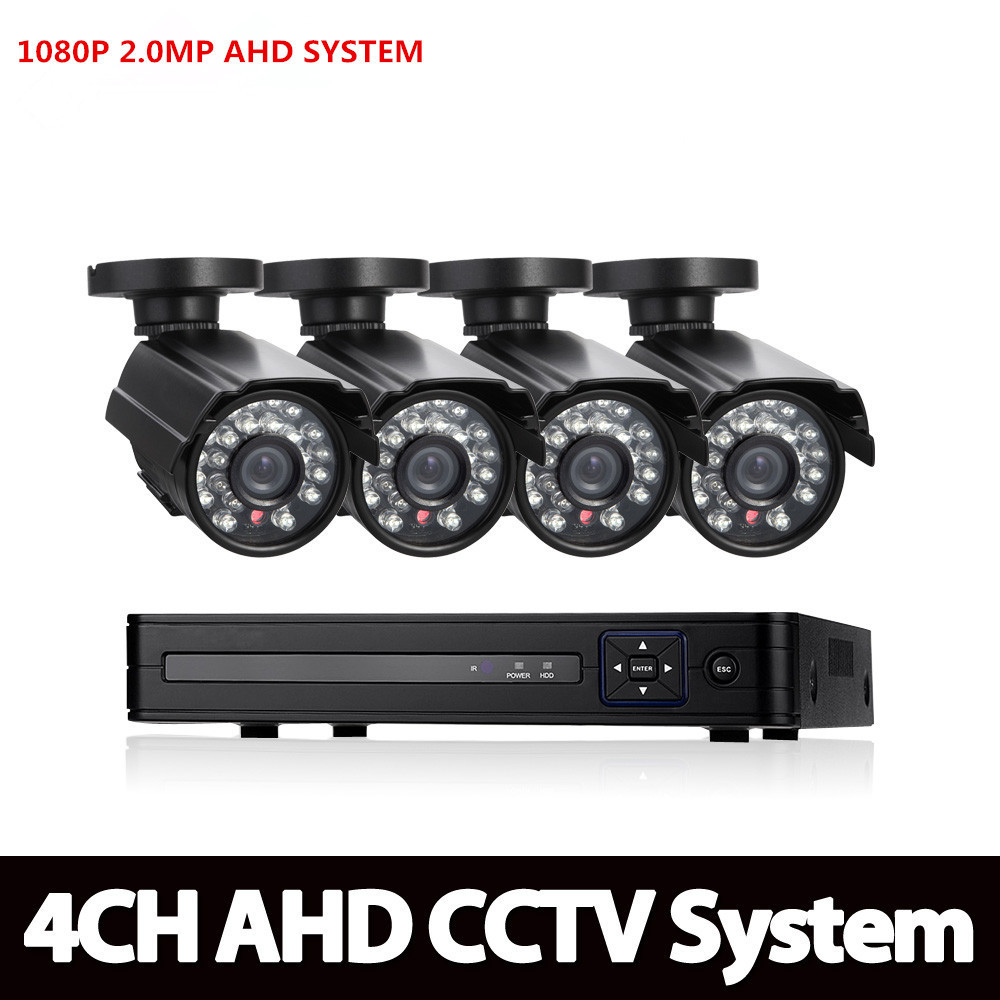 AHD 4CH 1080N HDMI DVR 1080P 2.0MPP HD Outdoor Security AHD Camera System 4 Channel CCTV Surveillance DVR Kit AHD Camera Set ahd 4ch 1080n hdmi dvr 1080p 2 0mpp hd outdoor security ahd camera system 4 channel cctv surveillance dvr kit ahd camera set