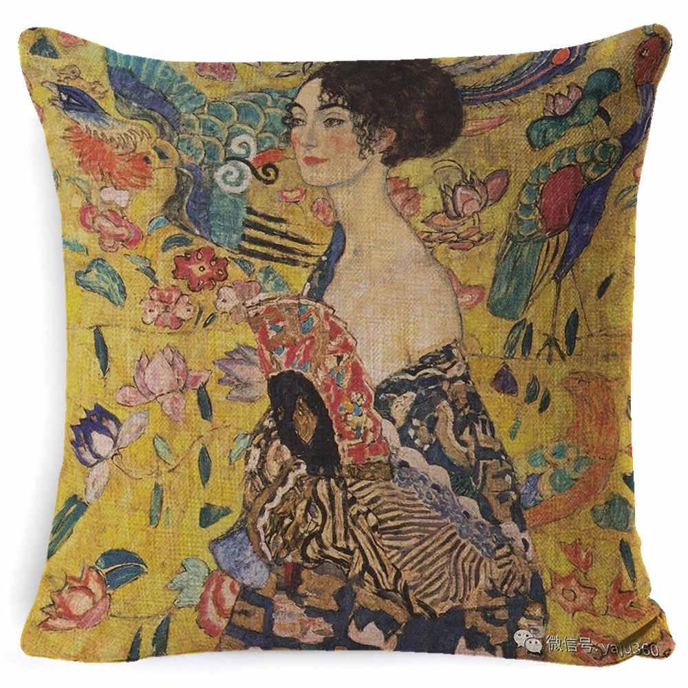 Fokusent Emas Dekoratif Lukisan Minyak Home Dekoratif Bantal Case Gustav Klimt Koleksi Galeri Sofa Bantal Cover