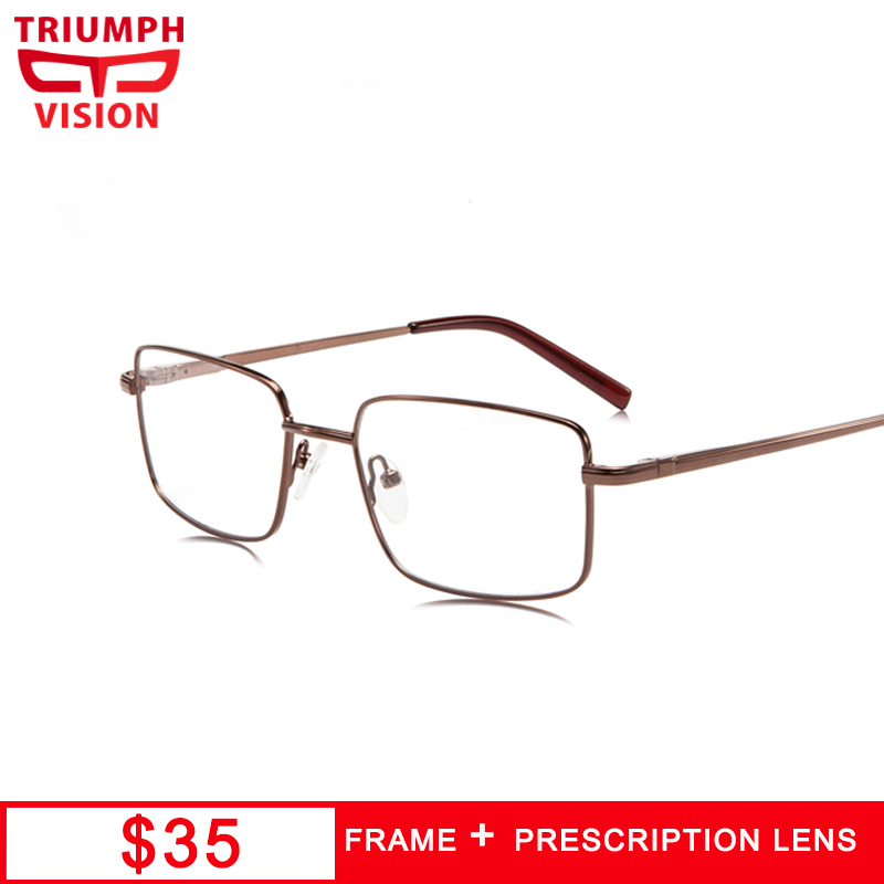 Sporting Triumph Vision Brand Designer Frame Rivet Prescription Glasses Men Photochromic Eyeglasses Anti Blue Ray Computer Glasses Myopia Handsome Appearance Men's Prescription Glasses Men's Glasses