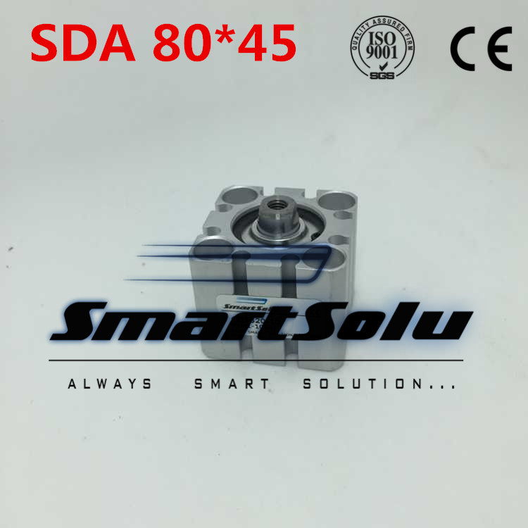 Free Shipping SDA 80*45 Pneumatic Compact Air Cylinder 80mm Bore 45mm Stroke free shipping 80