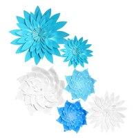 HAOCHU 6 יחידות 16 ''12'' ענק קישוט החתונה פרחי נייר פרחים כחולים נייר מאוורר אירוסין בני מסיבת יום ההולדת אבזרי תמונה