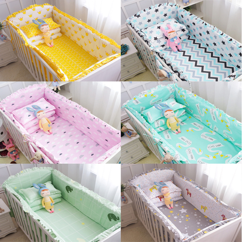 Cotton Baby Crib Bedding Set With Bumper Unisex Cotton Printed Cartoon Bed Safe Around Baby Bedding with Crib Sheet