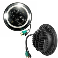 2x7Inch Round Led Headlight For 97 15 Jeep Wrangler Harley With AngHalo El EyeTurn Signal Lamp