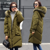 ZNCJ ברך בנות של נשים הקוריאני סגנון מעיל ארוך מעיל צבאי ירוק גודל גדול עם ברדס צווארון פרווה מעיל Outwears Slim המעובה למטה
