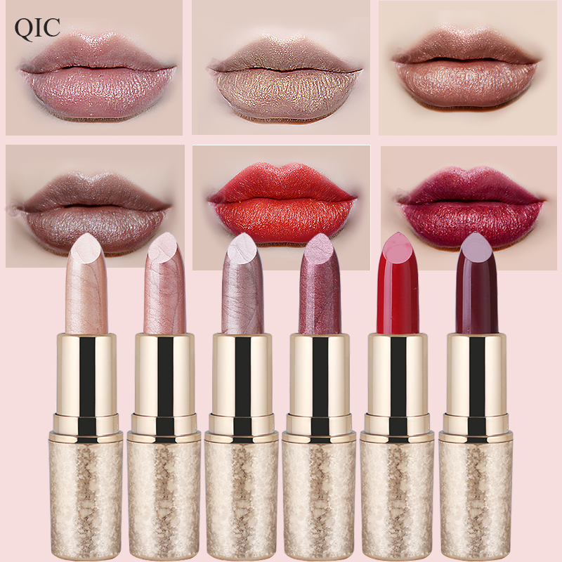 Pearl Light Snowflake Moisturizing Lipstick 6 Color Waterproof Durable Metal Lipstick Velvet Matte Lip Gloss waterproof moisturized 4 color comestic lipstick deep pink red multi color 5 2g