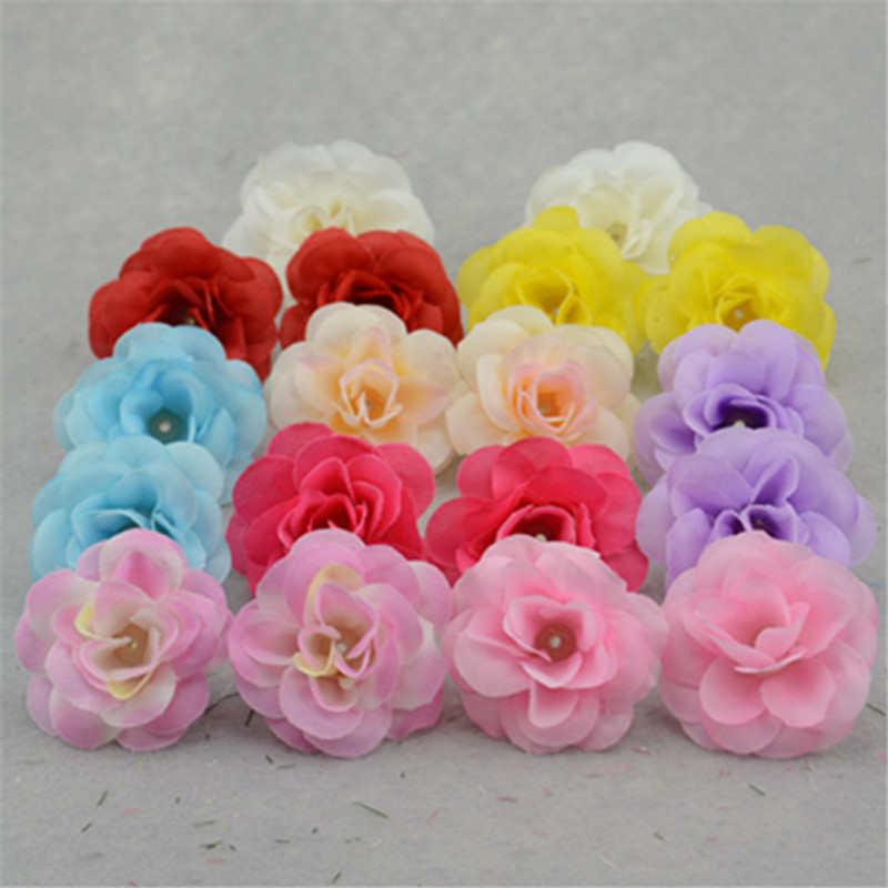 (Can Mix Color) NEW 10PCS Artificial Rose Silk Flower Heads Decoration for Wedding Party Banquet Decorative Flowers