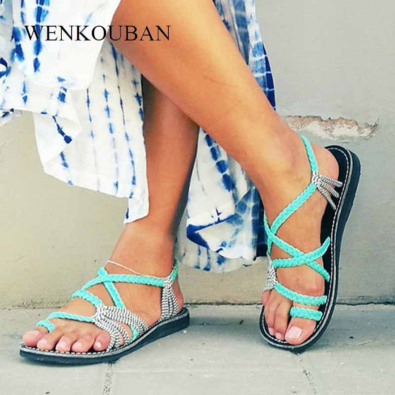 Image 3 - Summer Women Sandals Gladiator Flats Sandals Rope Beach Shoes Causal Ladies Rome Style Slippers Sandales Femme 2020 Plus SizeWomens Sandals   -