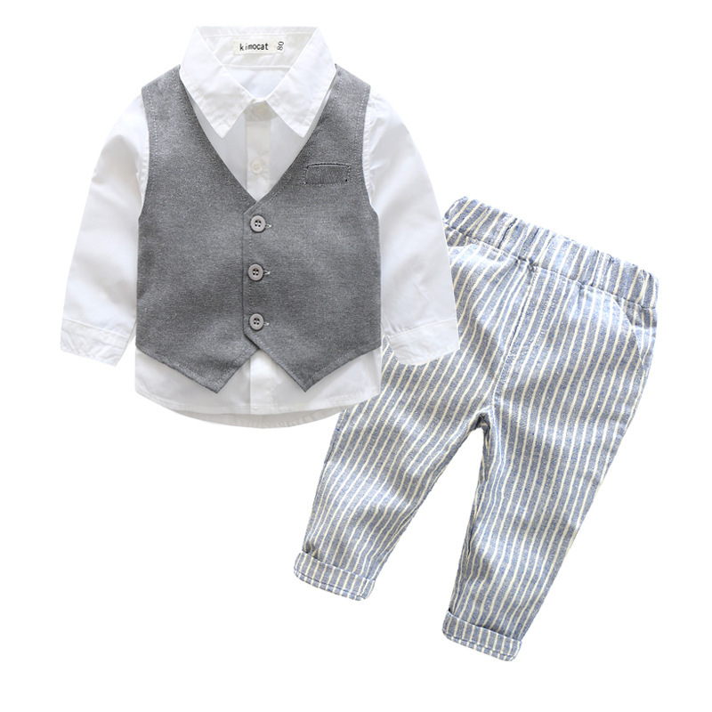 Baby Boy Clothes toddler boys clothes baby clothing set gentleman boys suit vest+white shirt+pants 2018 spring newborn baby boy clothes gentleman baby boy long sleeved plaid shirt vest pants boy outfits shirt pants set