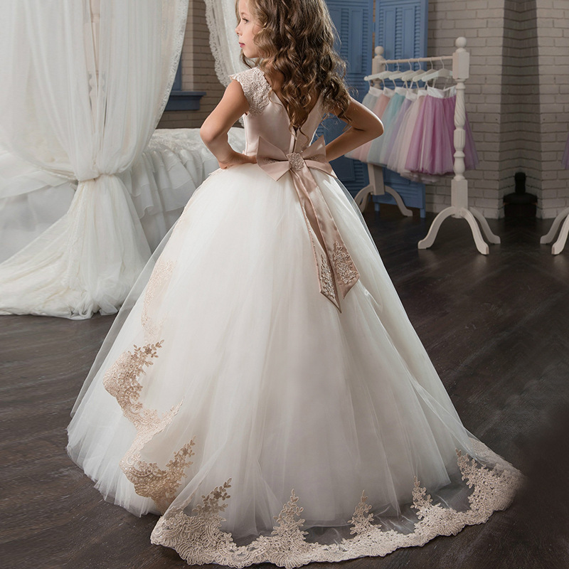 Lace and Tulle   Flower     Girls     Dresses   A-line Lace Tulle Formal Kids Wear For Wedding Bow   Dresses   For Little   Girl   Backless