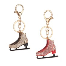 Crystal Rhinestone Leather 2019 Latest Lovely Women Car Pendant Gift Keychain Handbag Men Roller Skates Shoe(China)