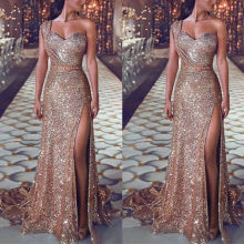 Evening Dress Sexy One Shoulder Mermaid Womens Gold Party Gowns