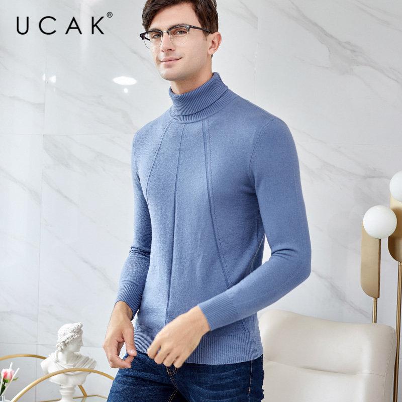 UCAK Brand Merino Wool Sweater Men 2019 New Arrival Winter Turtleneck Sweaters Thick Warm Pull Homme Cashmere Pullover Men U3023