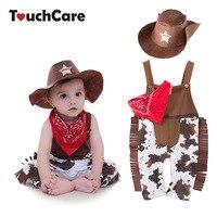 3pcs Baby Boy Romper Costume Infant Cowboy Clothing Set Newborn Hat Bib Romper Suit Boys Jumpsuit