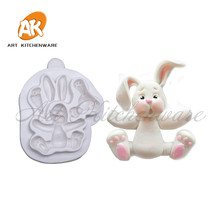 3D Rabbit Easter Bunny Silicone Molds Cupcake Decorating Fondant Baking Tools DIY Jungle Baking Cake Kitchen Accessories SM-577