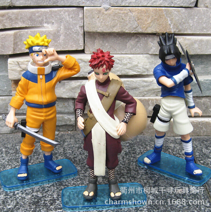 3pcs/set 14cm Naruto Uzumaki Naruto Uchiha Sasuke Gaara Action Figures Anime PVC brinquedos Collection Figures toys купить