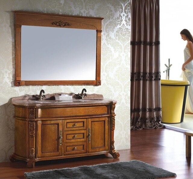 Antique Style Brun Couleur Double Évier Salle De Bains En Bois ...