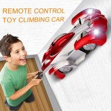 1個rcカーリモートコントロールクライミングrcカーledライト360度回転スタントカーのおもちゃマシン壁rc車少年クリスマスギフト