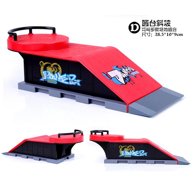 Modelo D Dedo Skate Park/Parque de Skate Rampa de Piezas para Cubierta Tech Diapasón Unilateral Pendiente + Plataforma de Forma Redonda