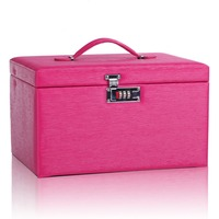 Large Rose Red Jewellery Case Gift Box PU Jewelry Display Leather Trinket Organizer Antique Watch Rings Mirrored Cabinet ZG243