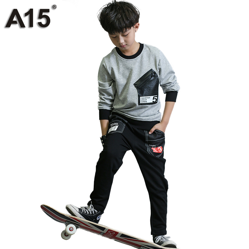 A15 Boys Clothes Sets Long Sleeve Kids Clothes Boys Tracksuit Toddler Boys Clothing Summer 2017 Spring Casual Teens 8 10 12 Year 2017 new boys clothing set camouflage 3 9t boy sports suits kids clothes suit cotton boys tracksuit teenage costume long sleeve
