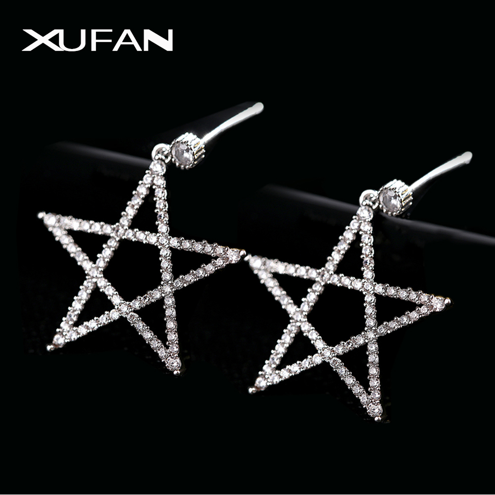 2020 Hollow CZ Zircon Star Pentacle Stud Earrings Exaggerated Shiny Zircon Silver Color Pentagon Earrings For Women Jewelry Gift