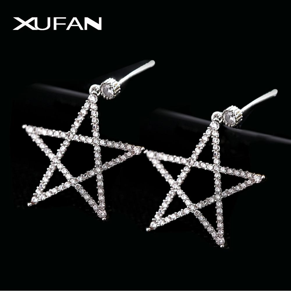2020 Hollow CZ Zircon Star Pentacle Stud Earrings Exaggerated Shiny Zircon Silver Color Pentagon Earrings For Women Jewelry Gift