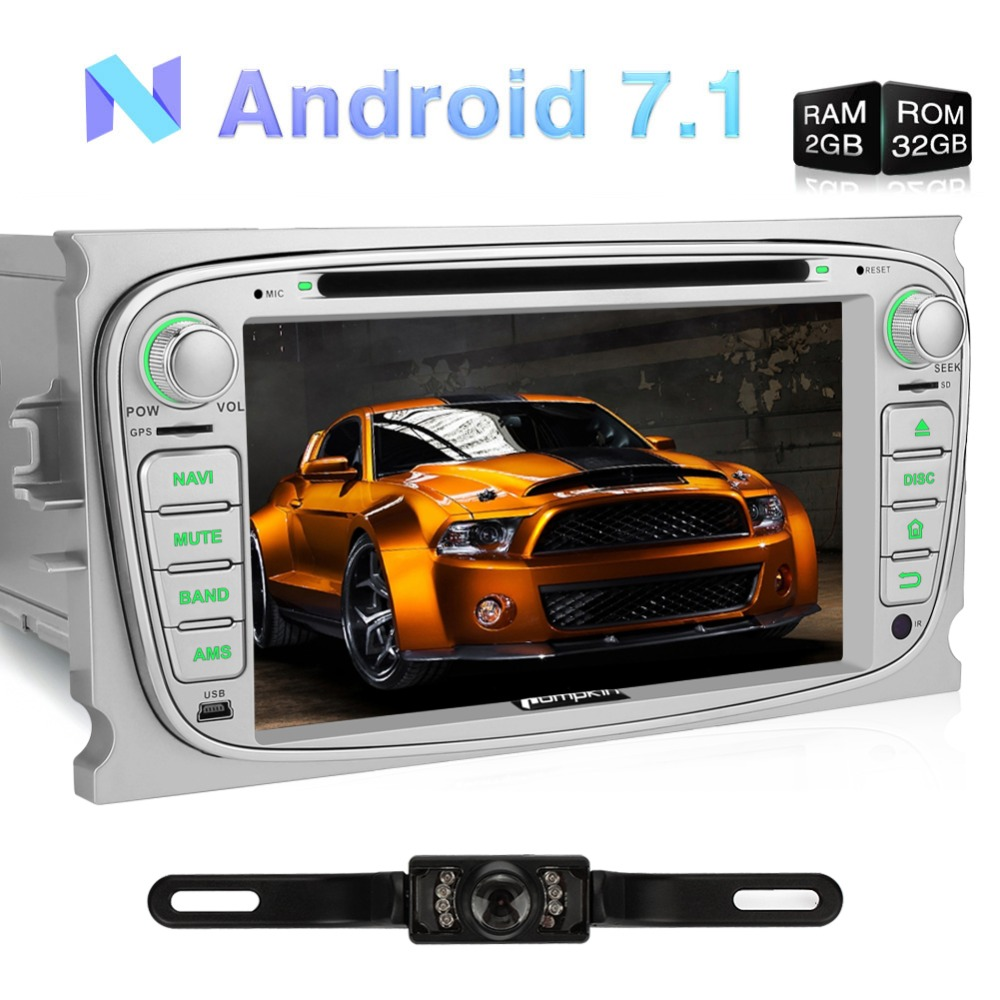 Pumpkin 2 Din 7 Android 7.1 Quad Core Car DVD Player For Ford Mondeo/Focus Car Stereo GPS Wifi 3G FM Rds Radio DAB+ Headunit