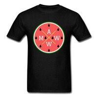 AWWM Logo Rosso Anguria T Shirt Per Gli Uomini Famiglia Tshirt o-collo Casuale Tops Tees Estate Autunno Maschile Frutta T-Shirt Su vendita