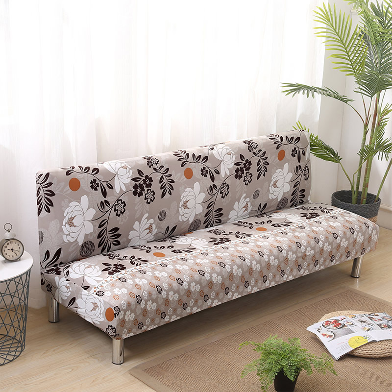 Foldable Sofa Bed Without Armrest Sofa Cover Couch Cover Printed Seat Covers Elastic Furniture Slipcover Armless Home Decoration Sofa Cover Table & Sofa Linens