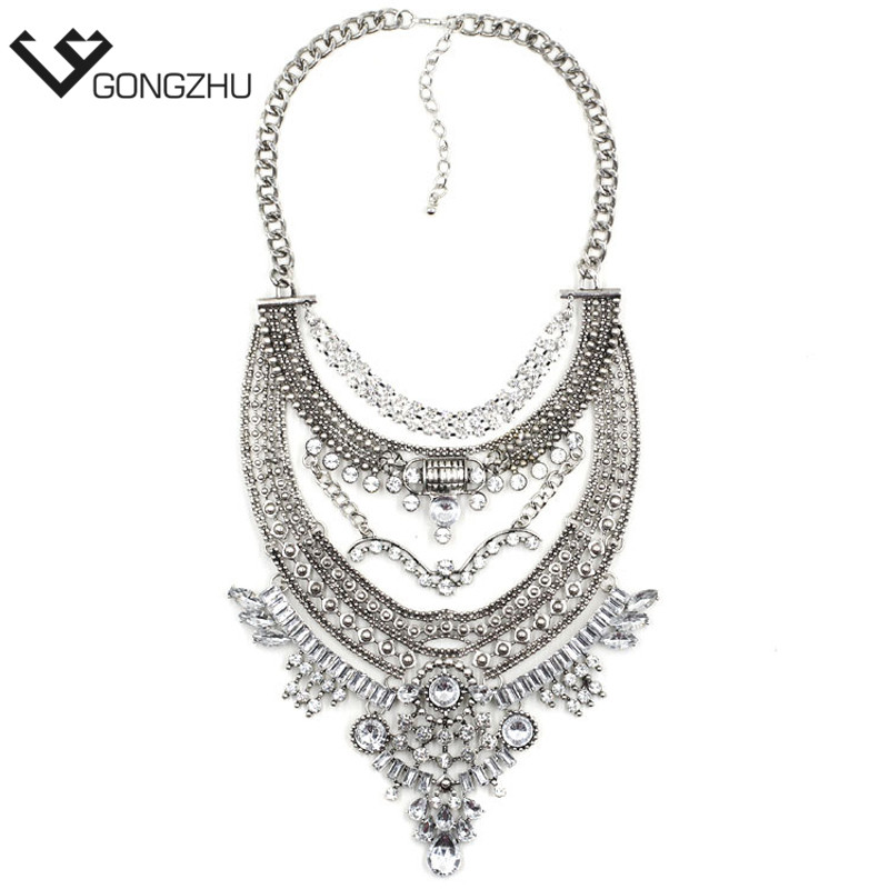 Exaggeration brand new design hot chunky vintage Punk fashion statement Necklace metal chain Necklaces Pendants wholesale