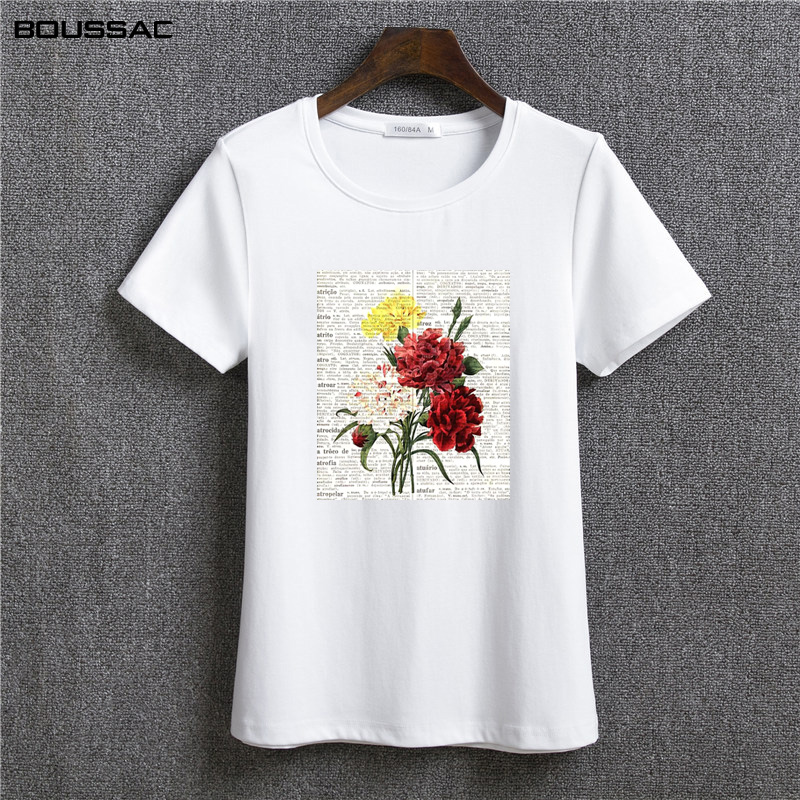 Flower plant Ladies Letter Printed Graphic T shirts For Women Tops Tees cartoon cute tee Shirt Female T Shirts vintage in T Shirts from Women 39 s Clothing