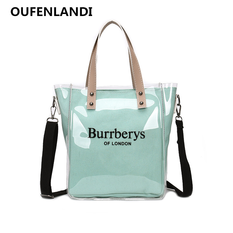 OUFENLANDI New Fashion Women Clear Transparent Shoulder Bag Jelly Candy Summer Beach Handbag Woman Messenger Bags Bolsa Feminina zhierna new summer korean chain single shoulder bag big handbag fashion picture bags women jelly crystal transparent beach bag
